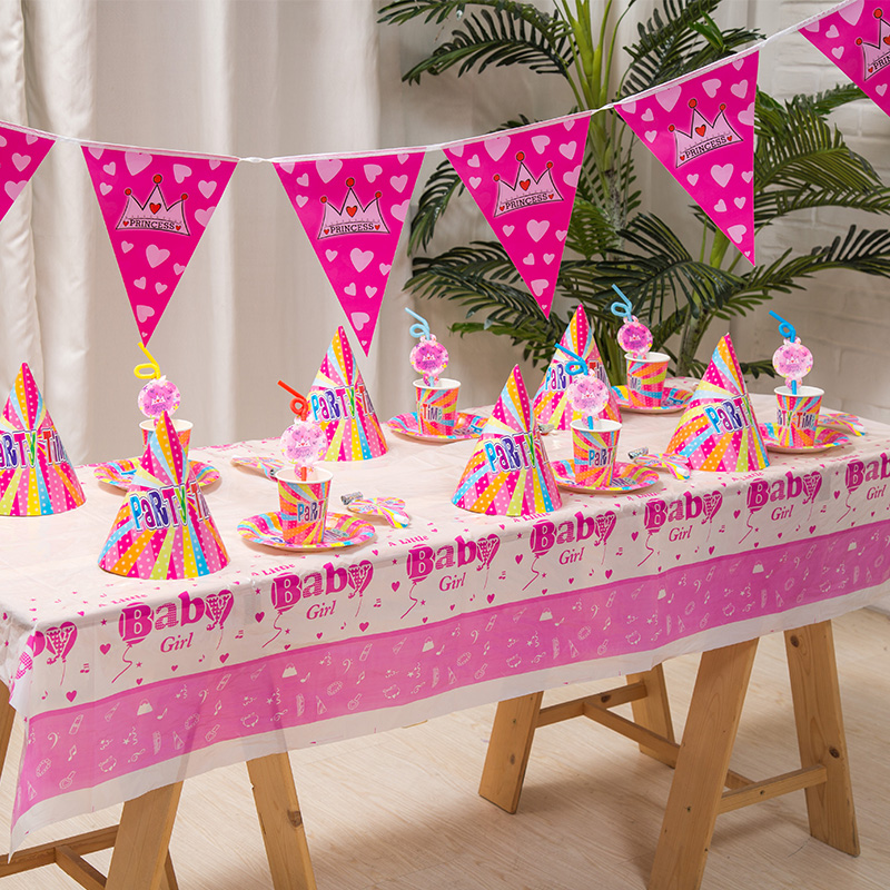 People Decorating For A Party online shop pink birthday theme set child birthday decoration 6