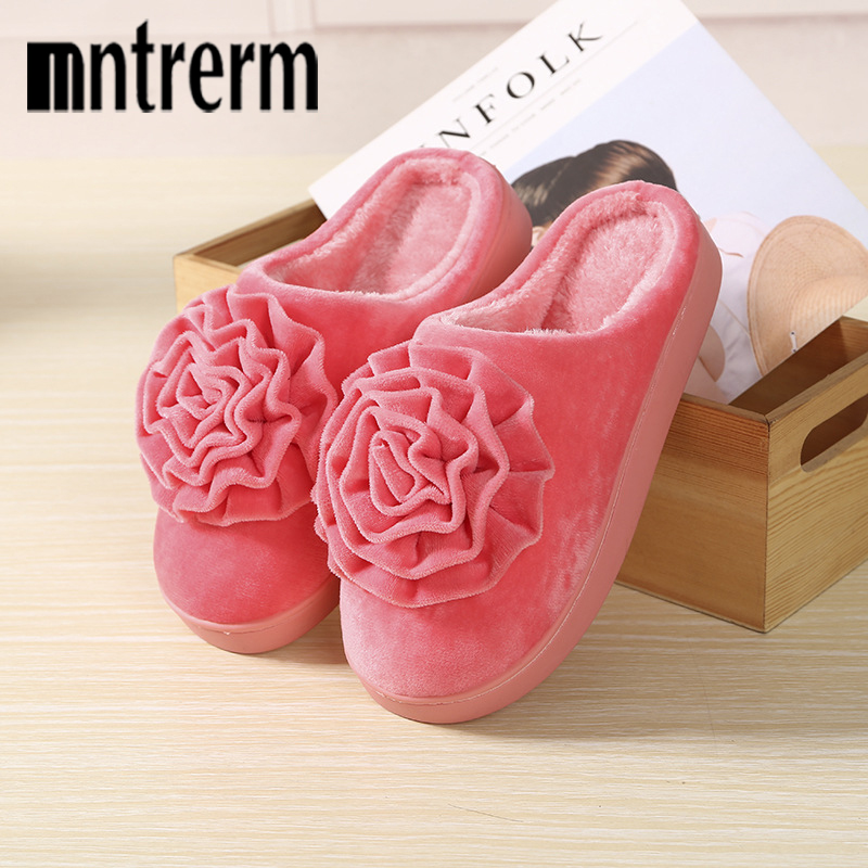 Mntrerm Winter Women Warm Plush Home Shoes Female Rubber Flower Ladies High Quality Home Slippers For Women And Men Indoor Shoes high quality new autumn winter velvet ladies slippers women indoor rubber sole waterproof skid warm shoes woman zapatillas emoji