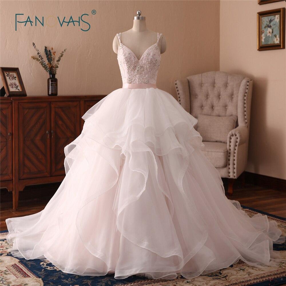 Nouveau Rose Robes de Mariée Longue 2018 Chérie Bretelles En Cristal Étincelant Robe de Mariée Organza Robe de Novia Grande Taille NW19
