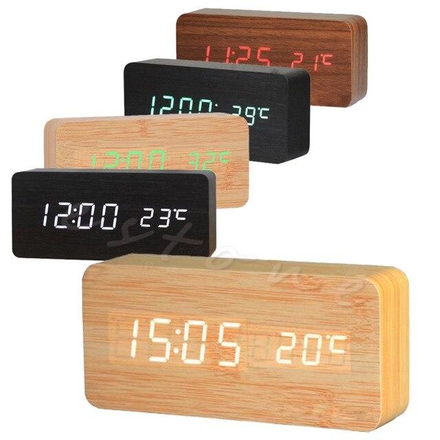 320479712a8 1 Pc Novo Digital LED de Madeira Alarme Mesa Relógio Temporizador Termômetro  Snooze Controle de Voz