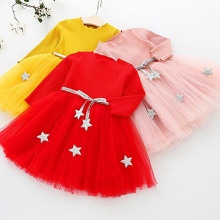 New Spring Autumn Baby Girl Dress Casual Lovely Fashion Long Sleeve Top Cute Bubble Mesh Princess 1-4T