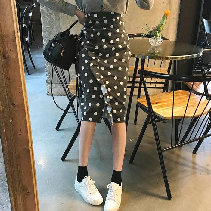 Women Denim Skirts  High Waist Midi Skirt Summer Pencil Skirt Jeans Lady Bodycon Denim Skirt  Dot  Saia Midi split