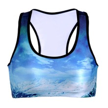 NEW 0075 Summer Sexy Girl Women snow mountain cloud 3D Prints Padded Push Up Gym Vest Top Chest Running Sport Yoga Bras