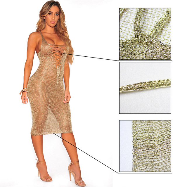 4de5a25ea1d Sexy Golden Knitted Dress Deep V neck Lace Up Sheer Bodycon Dress Women  Beach Club Party Pencil Dress
