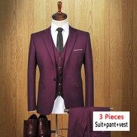 2017 New Brand Men suit 3 pieces jacket+pant+vest Business Formal Slim Fit Suits blazer with Pants Tuxedo wine Suits for Men