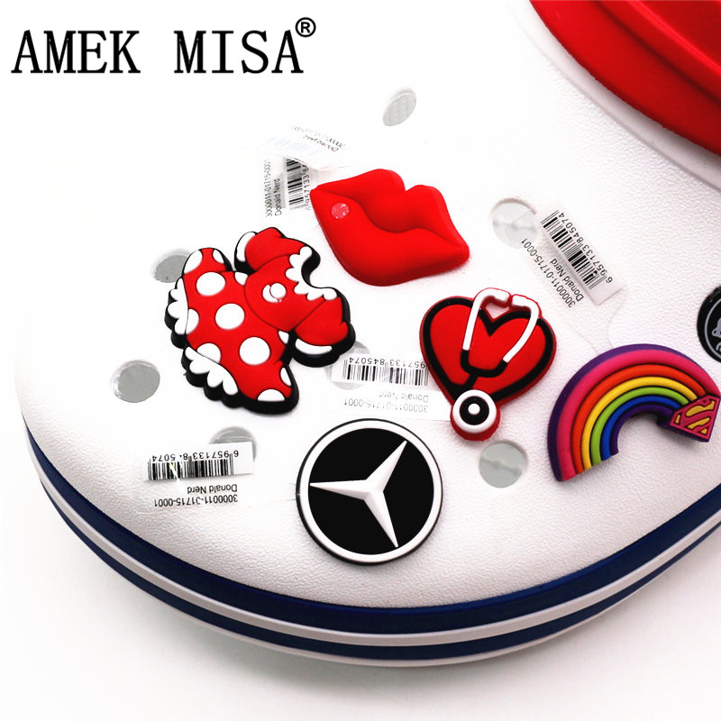 1pc High Quality Shoe Charms Accessory Red Lips/Rainbow/BMW/Bow Buckles Garden Shoe Decoration Fit Bracelets Croc JIBZ Kids Gift