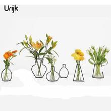 Фотография Urijk Iron Vases for Plants Shelving Flower Vase Garden Modern Brief Creative Decor New Year Decor Home Decoration Accessories