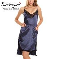 Burvogue Women Sexy Long Nightgown Lace Trim Maxi Nightdress Satin Nighties Sleepwear Long Nightwear