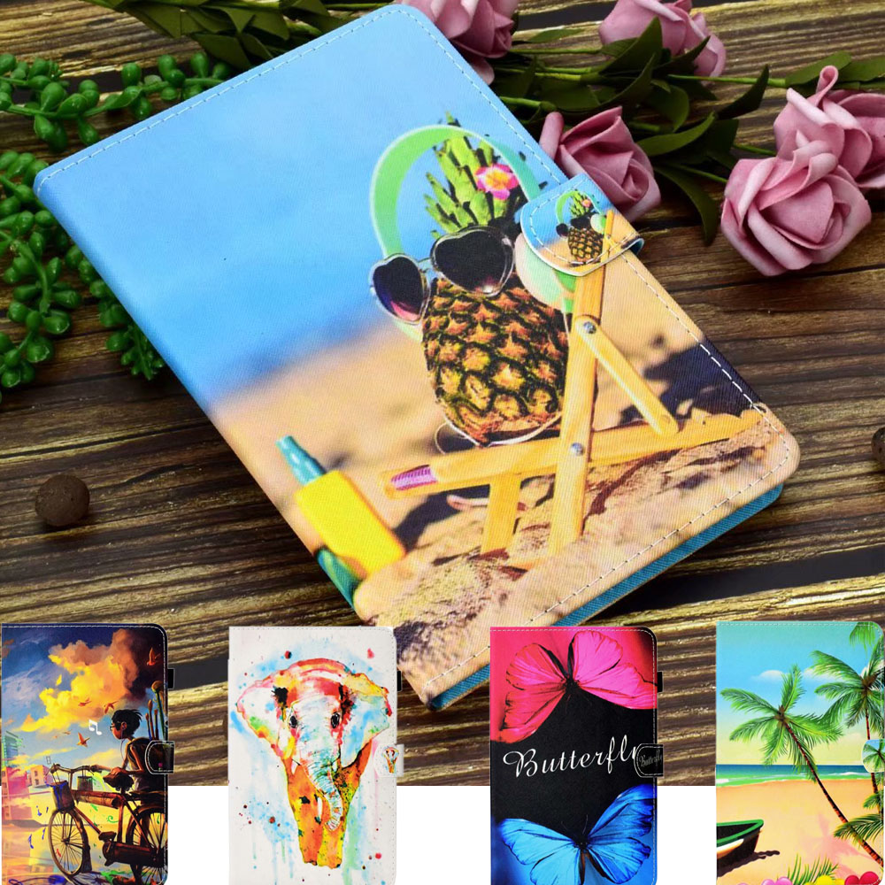 3D Cute Cartoon Cover For Samsung Galaxy Tab A 8.0 2015 SM-T350 T355 SM-T355 Case Card Stand Leather Flip Protective Holder Skin