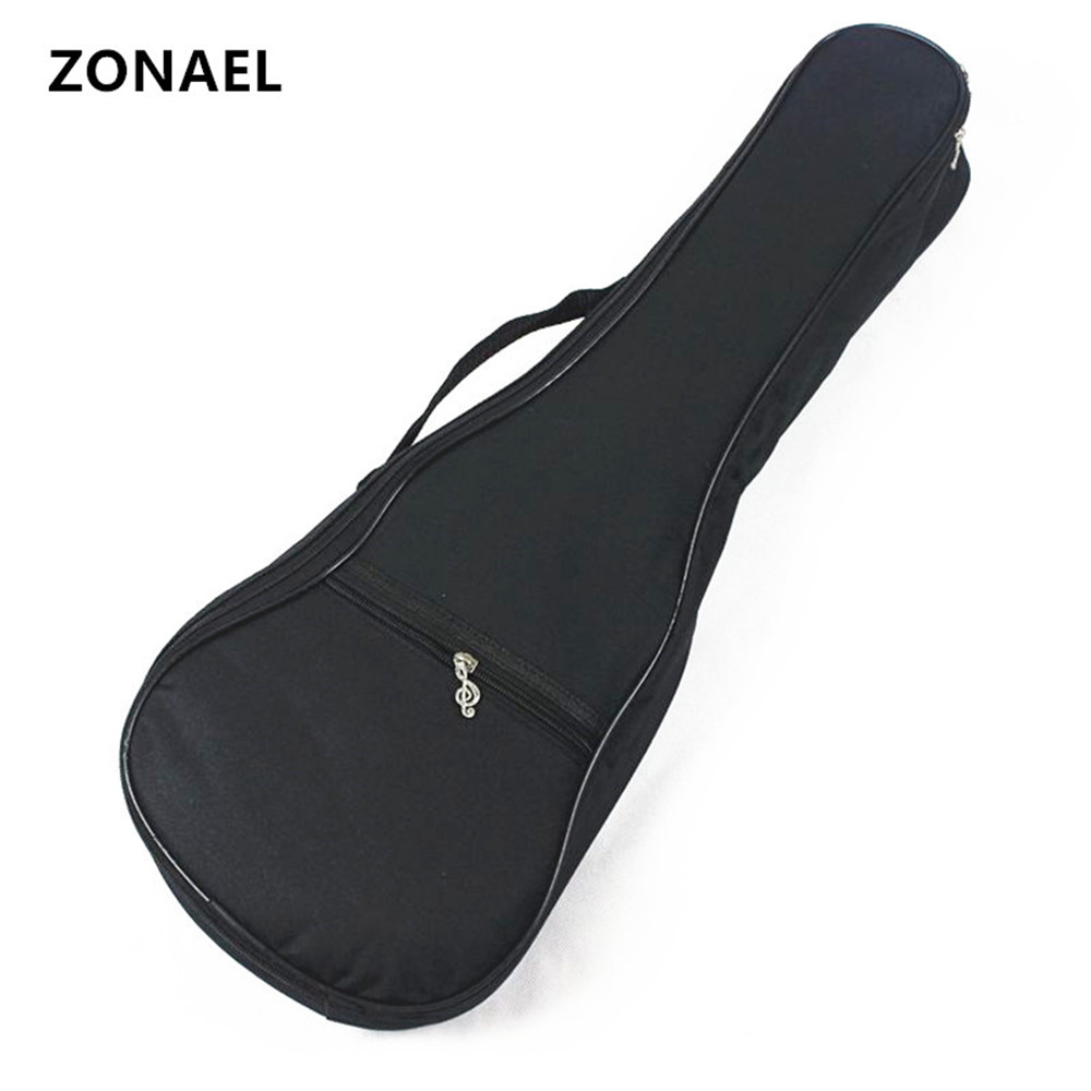 ZONAEL 21 23 26 inch Guitar Cover Gig Bag Soft Case Light Gear Black Uke Ukelele Bags Ukulele Bag Soprano Waterproof 4 Strings 21 inch colorful ukulele bag 10mm cotton soft case gig bag mini guitar ukelele backpack 2 colors optional