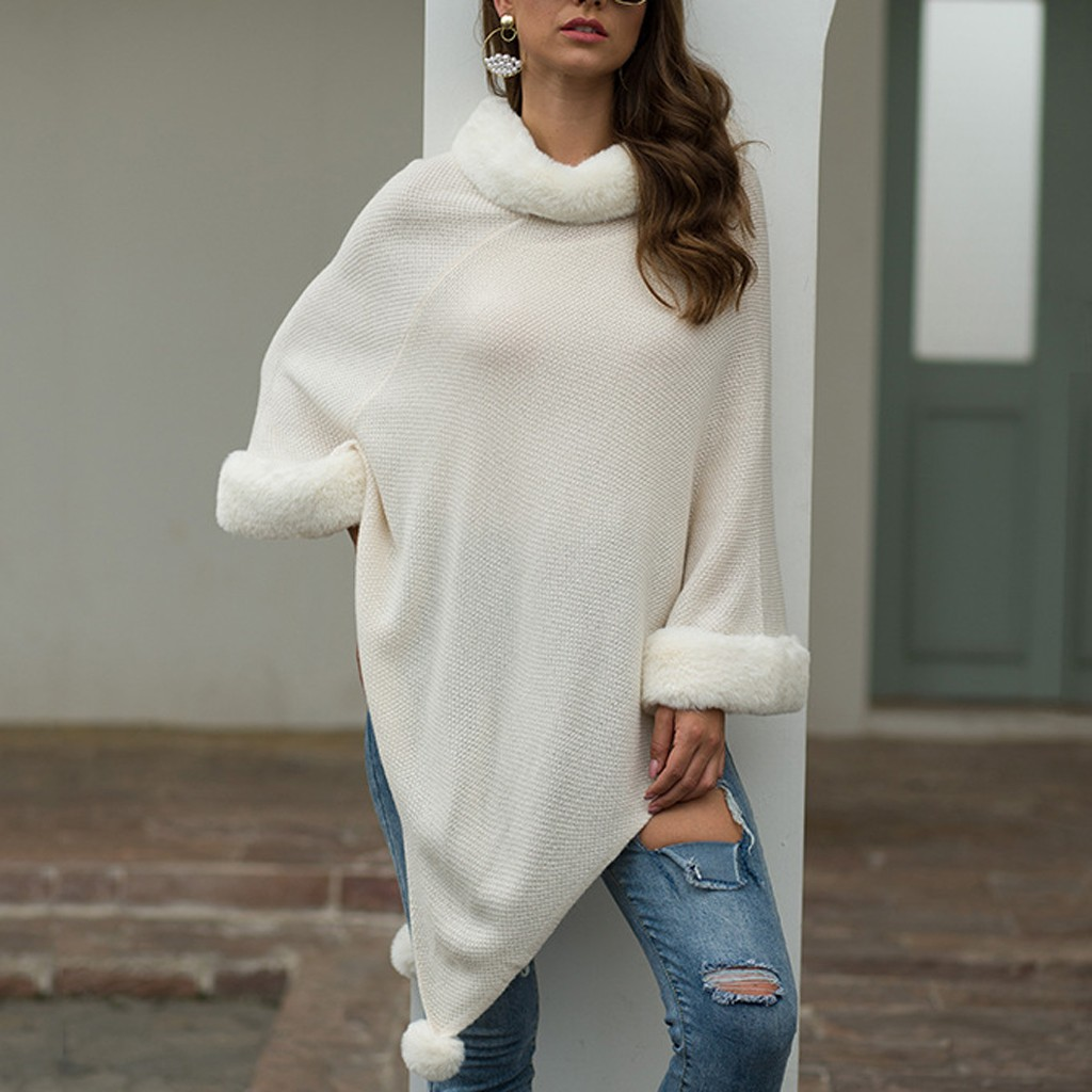 Korean Style Women Sweater Women Solid Irregular Hairball Cloak Loose Shawl pullover Cover Up Coat Autumn Winter Women's Sweater