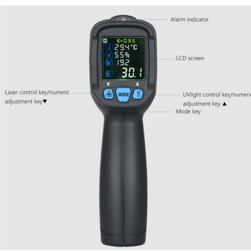 -30~850 Degree Digital Thermometer Hygrometer K Type High Temperature Humidity Tester Non-Contact  IR Infrared Pyrometer 2017 bside btm21c infrared thermometer color digital non contact ir laser thermometer k type 30 500 led