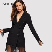 SHEIN Black Fringe Trim Shawl Collar Double Breasted Slim Fit Plain Coat 2019 Spring Office Lady