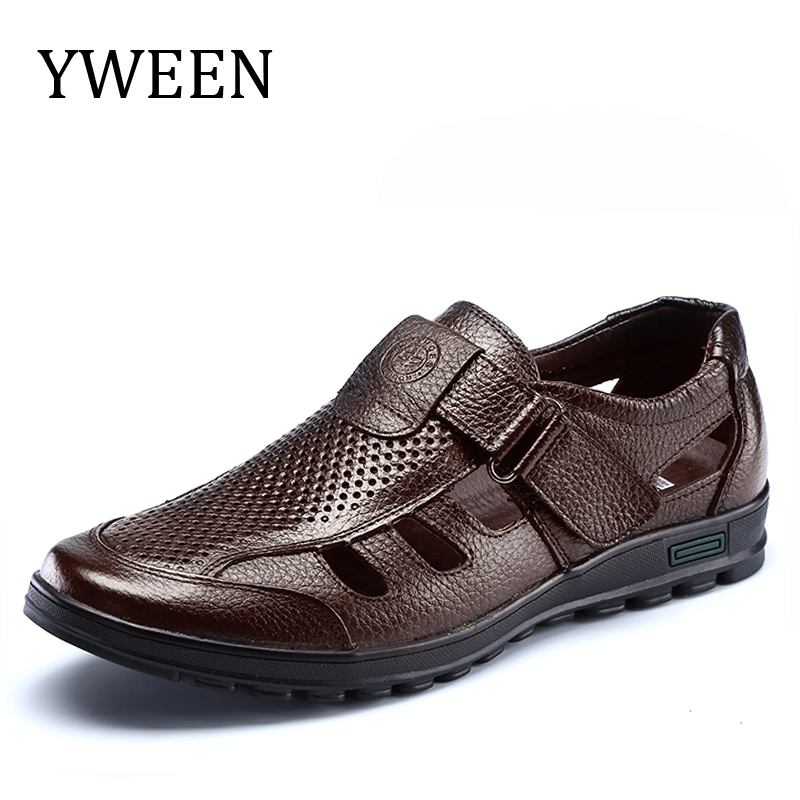YWEEN Merek Drop Pengiriman mens sandal kulit asli sandal luar kasual - Sepatu Pria
