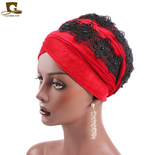 New 3D beaded flower velvet long turban headscarf head wrap women hijab Nigerian Turban Women Turbante Hair accessories