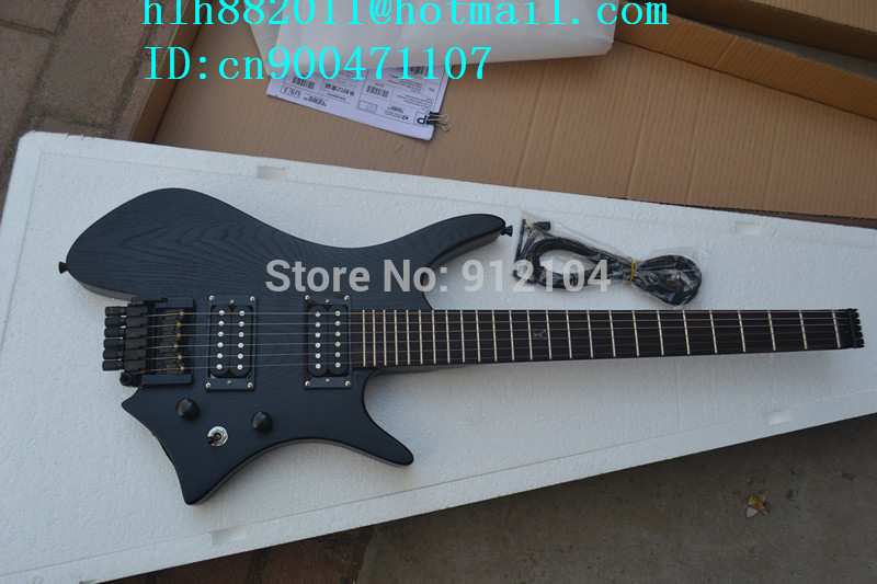 new headless electric guitar  in black with elm body+EMS free shipping+foam box F-2097 2016 shanghai guitar show new body acrylic guitar real guitar photos free shipping