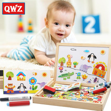 QWZ Wooden Puzzles For Children Cartoon Animals Multifunctional Magnetic Puzzle Drawing Board Educational Toys Baby Gifts