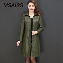 b3d6706fd63 Msaiss кожаная куртка для женщин  Большие размеры XL-6XL дамы  искусственного Верхняя одежда длинные