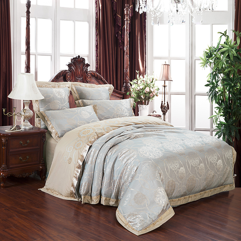 2018 Leaves Flowers Silver Grey Bedlinens Silk Cotton Blend Bedding Set Jacquard Queen King Duvet Cover Set Sheet Pillowcases in Bedding Sets from Home Garden