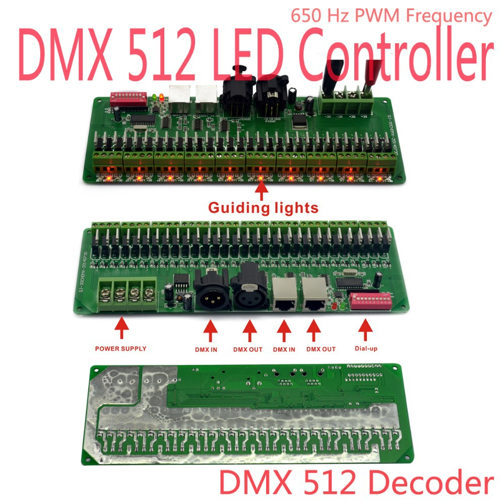 30 channel /27channel Easy RGB LED strip controller dmx decoder dmx512 controller 5v-24v DIY Light 24ch 24channel easy dmx512 dmx decoder led dimmer controller dc5v 24v each channel max 3a 8 groups rgb controller iron case