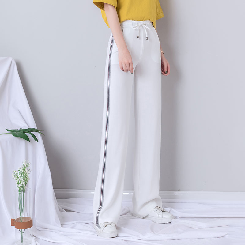 white   wide     leg     pants   women 2019 summer autumn thin plus size joggers women elastic waist sports sweatpants korean style   pants
