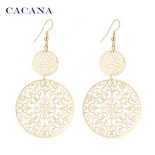CACANA  Dangle Long Earrings For Women Classic Pattern Hollow Round Bijouterie Hot Sale No.A339 A340