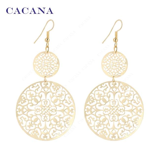 CACANA Dangle Long Earrings For Women Classic Pattern Hollow Round Bijouterie Ho