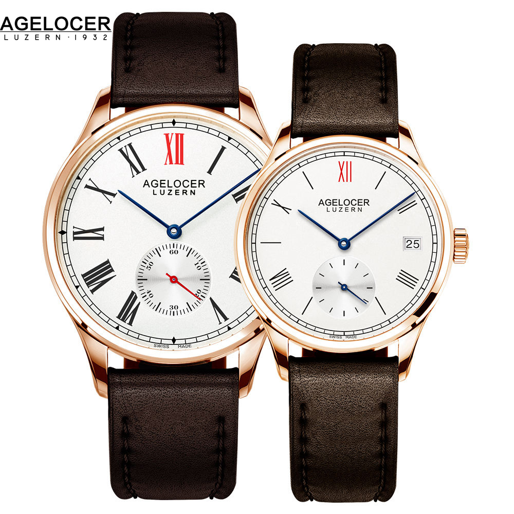 все цены на Swiss New Fashion Design Brand Lovers Watch Women Men Leather Band Vintage Automatic Analog Wrist Watch relojes Christmas Gift онлайн