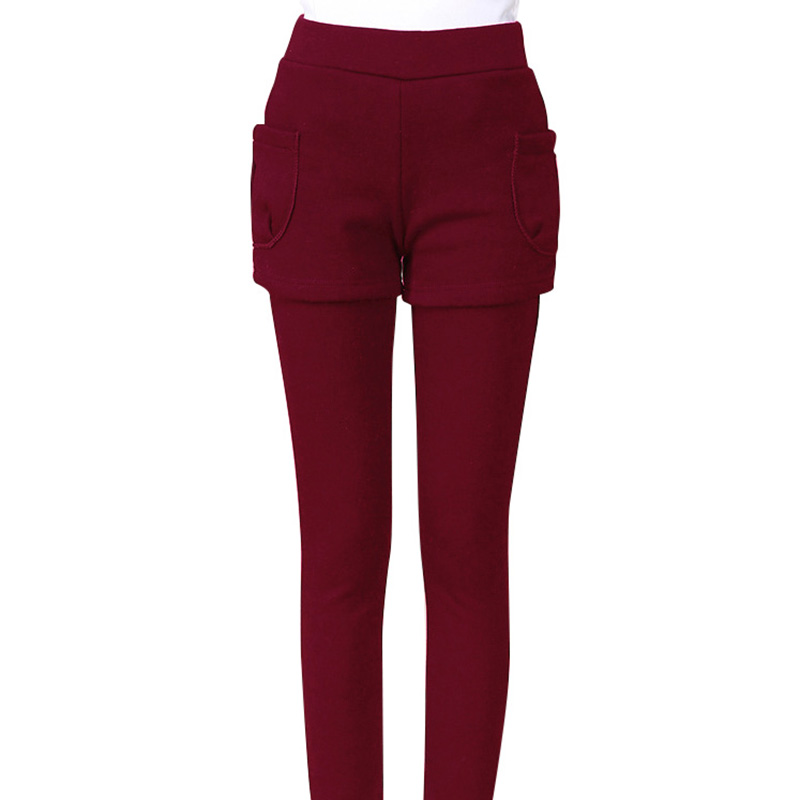 1Piece Autumn Winter Woman Leggings Fitness High Elasticity Cotton Leggings Fashion Fake Two-piece Skirt Warm Thick Velvet Pants