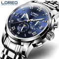 LOREO Germany watches men luxury brand automatic self-wind moon Phase sapphire luminous blue stainless steel relogio masculino