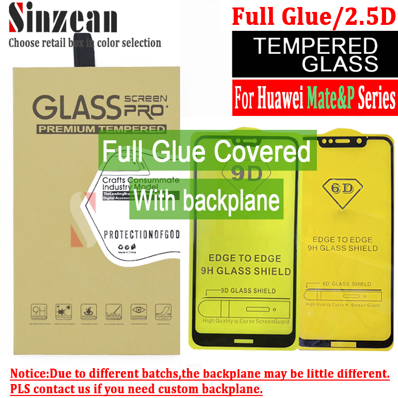 Sinzean 50pcs 2 5D Full Glue Tempered Glass 5D 6D Screen Protector for huawei mate 20
