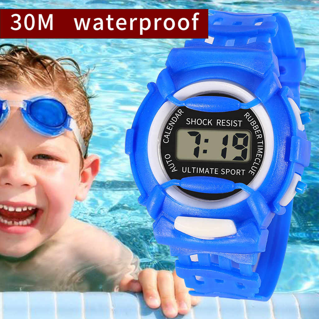 Fashion Men Women Casual Sports Watches LED Electronic Waterproof Digital Candy Color Silicone Wrist Watch for Children Kids #08