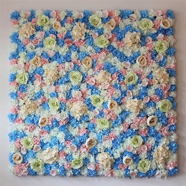 Flone 10PCS Artificial Silk Flower Row Wedding Flower Wall Simulation Rose Hydrangea Peony Mix Flowers Background Hotel Decor