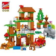 GOROCK 138pcs Tiger Deer Elephant Jungle Animal Building Blocks DIY Large Size Bricks Baby Gift Compatible With Duploe Kids Toys цены онлайн