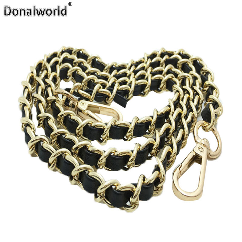 Donalworld Synthetic Leather Metal Chain Replacement Interchangeable Strap For Shoulder Bag Crossbody Handbag Wallet Accessories