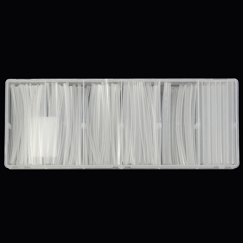 150Pcs/set  Polyolefin 2:1 Halogen-Free Heat Shrink Tubing Tube Assortment Sleeving Wrap Tubes Clear For Wrap Wire Kit