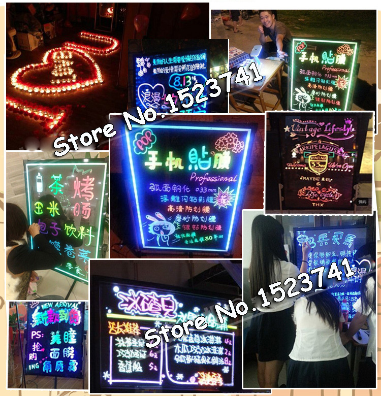 50x70 см(20 ''x 28'') светодиодная флуоресцентная трафаретная табличка, рекламная доска, осветительная доска с 8 Наборы Ручек