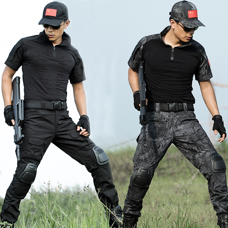 Tactical Suit Men Military Camouflage T Shirt Pant Knee Pads Army Special Forces SWAT Spetsnaz OPS