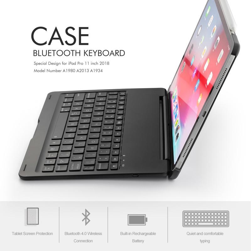 """שליכט אקרילי [חדש] מקרה מקלדת Bluetooth עבור אפל iPad Pro 11.1"""" , 7-צבע backlit מקלדת אלומיניום מתכת אלחוטי עם חכם מקרה קשה (5)"""