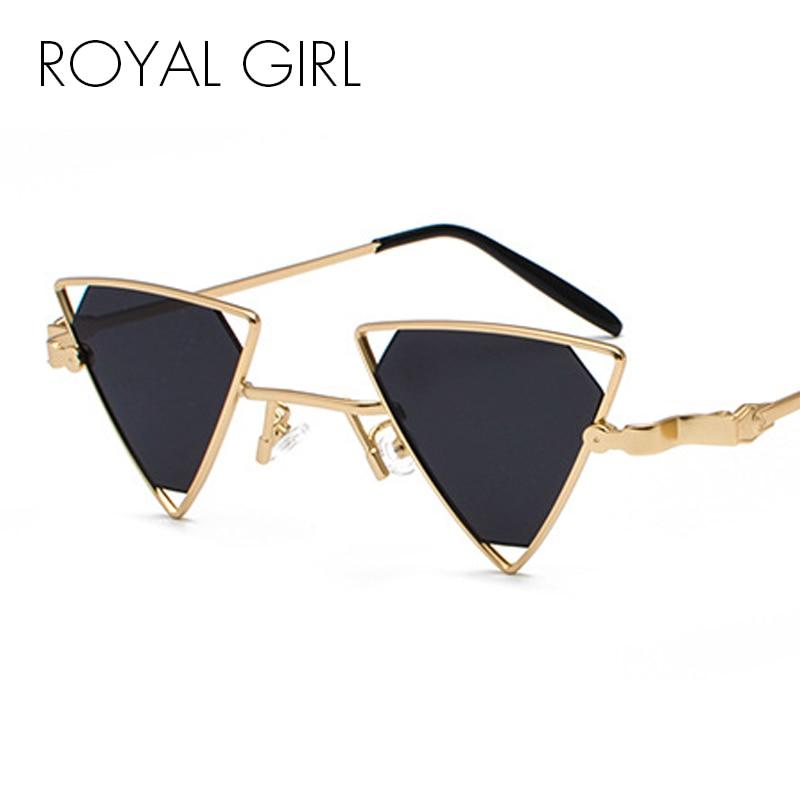 ROYAL GIRL Vintage Punk Triangle Sunglasses Women Men Metal Frame Black Red Yellow Pink Sun Glasses Retro Shades ss056
