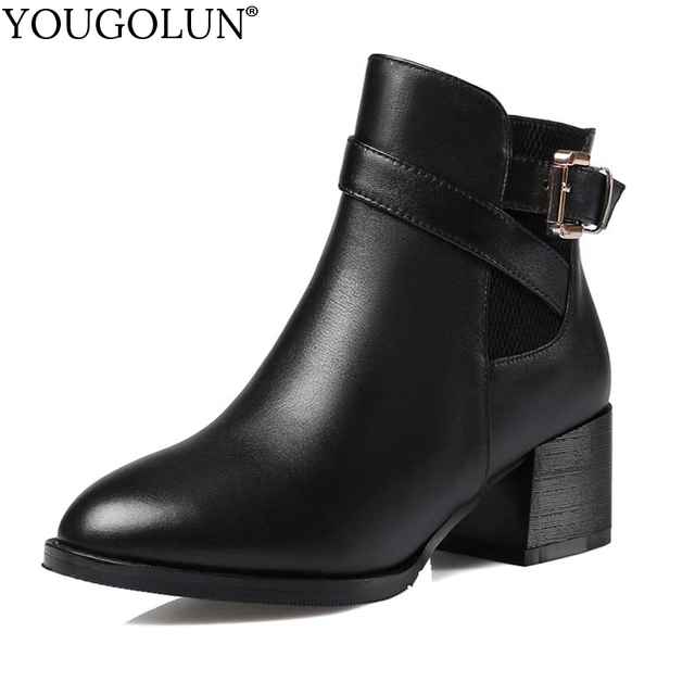 YOUGOLUN Women Genuine Leather Big Buckle Ankle Boots For Women Autumn Winter Ladies Black Square Heels Round Toe Shoes #Y-168