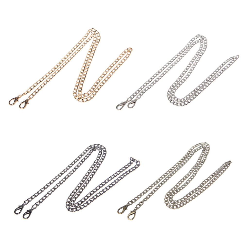 THINKTHENDO Long 120cm 4 Color Metal Baguette Shape Shoulder Bag Strap Chain Replacement Handle For Purse Handbags