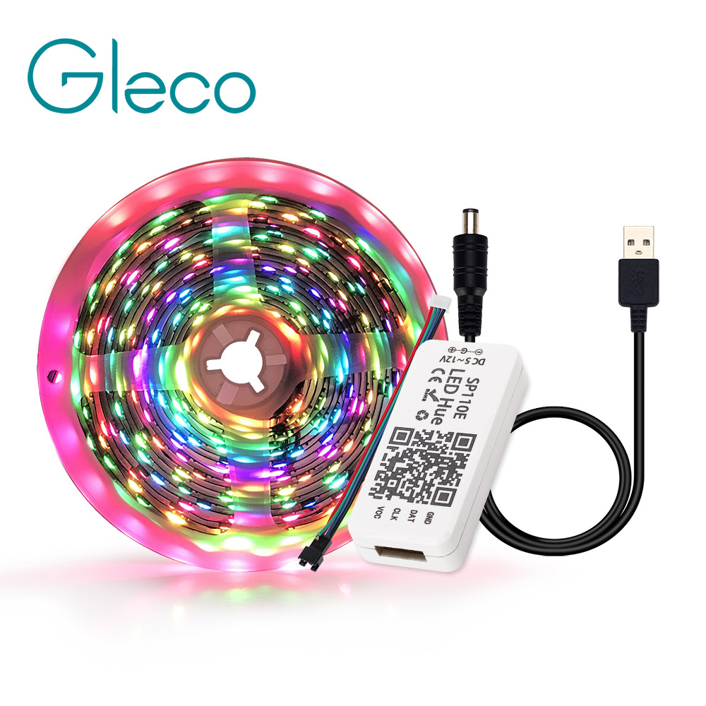USB LED Strip Light Bluetooth controller Dream color 5V <font><b>WS2812B</b></font> LED Strip <font><b>5050</b></font> RGB APP control TV background lighting 1M 2M 3M image