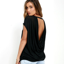 Female Backless Shirt Women Open Back Sexy Tops Casual Batwing Short Sleeve Loose Tshirts Summer O-neck T-shirt Top White Tee