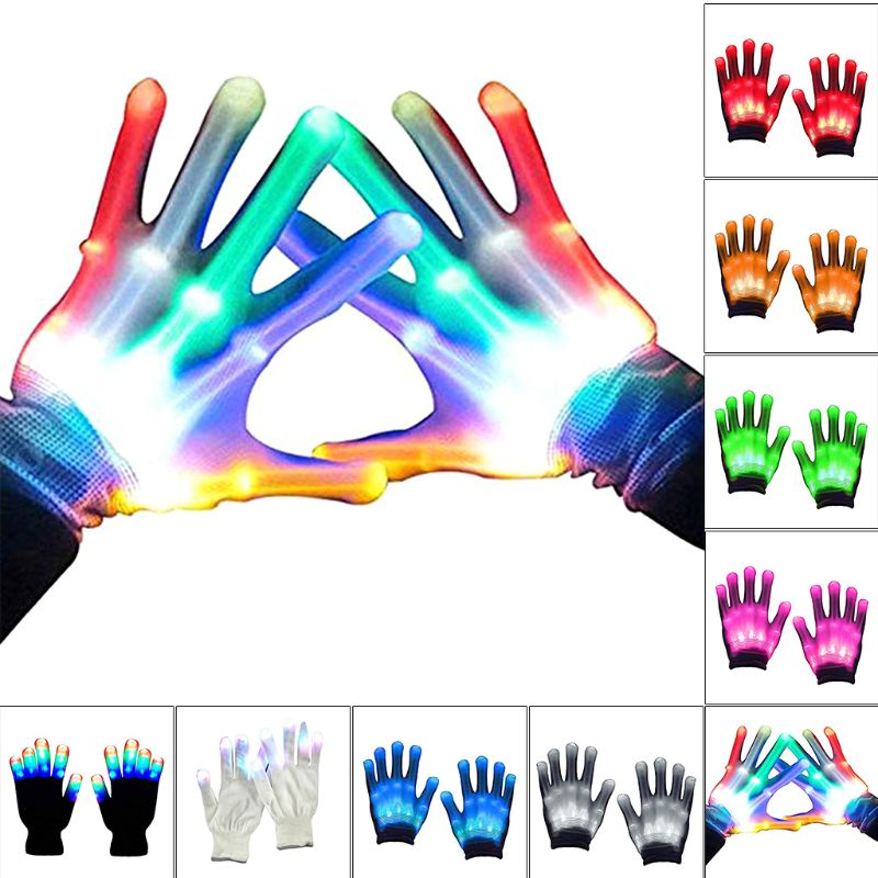 1 Pair LED Light Gloves Color Changing Luminous Flashing Halloween Stage Performance Costume Christmas Party Event Supply