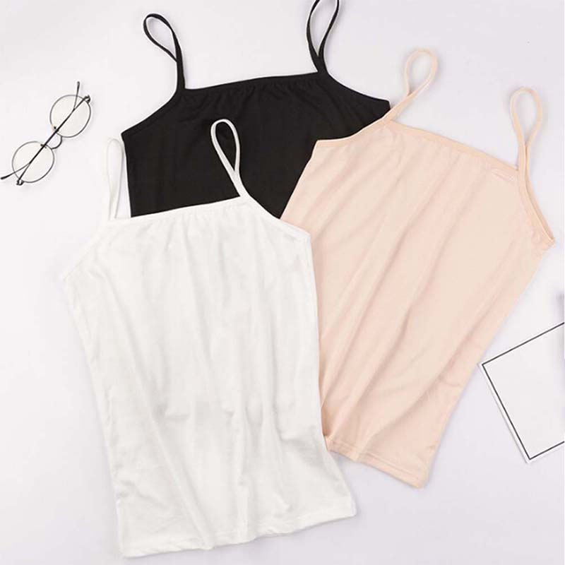 2020 New Fashion Summer Sexy Female Crop TopsWomen Sleeveless Straps Tank Top Solid Fitness Lady Camis Casual White Black Nude
