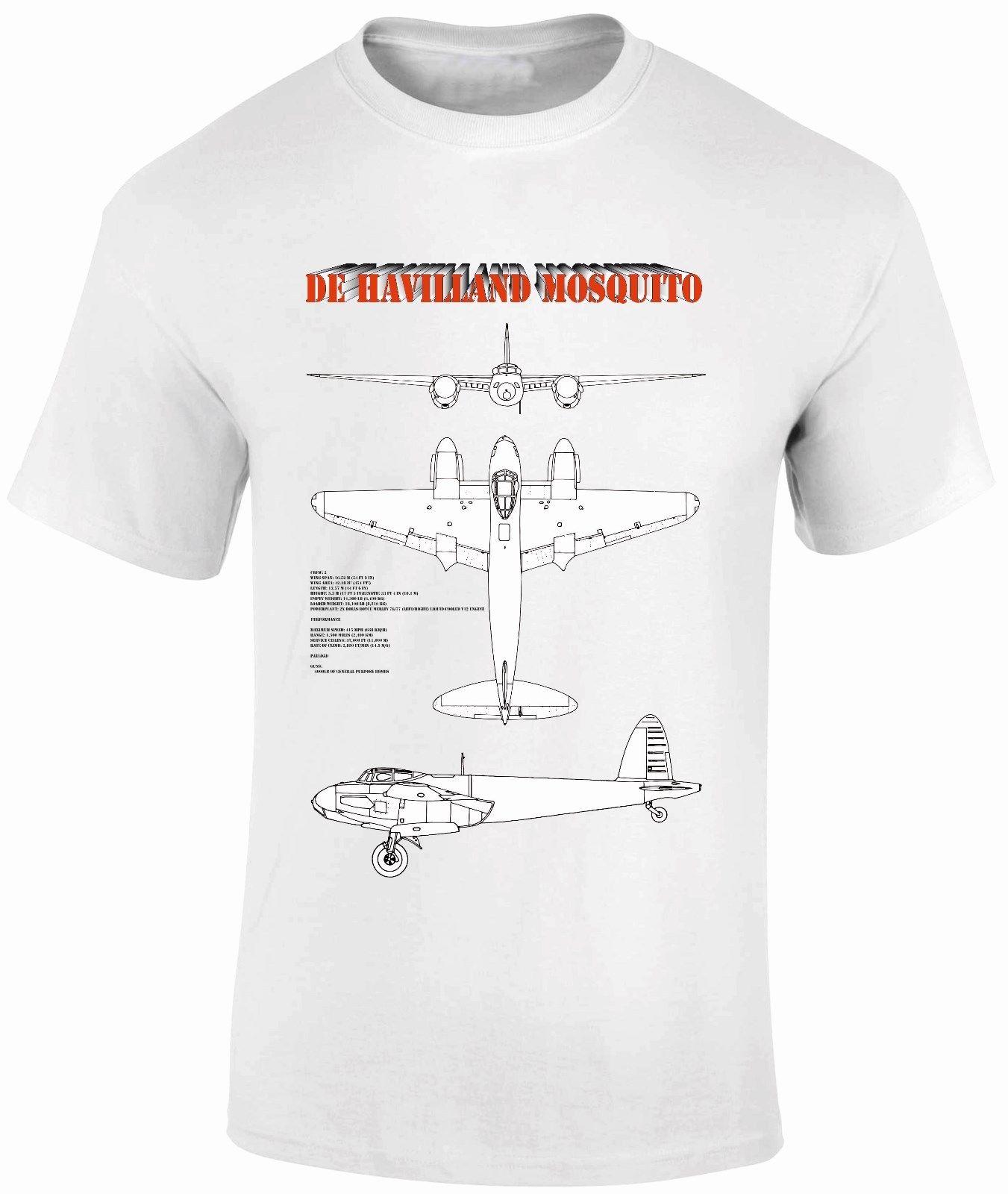 cc274737 Men Designer Clothes O-Neck Style Hip-Hop Tops T-Shirts FPBP303 De  Havilland Mosquito Blue Prints Combat Aircraft WW11 Planes