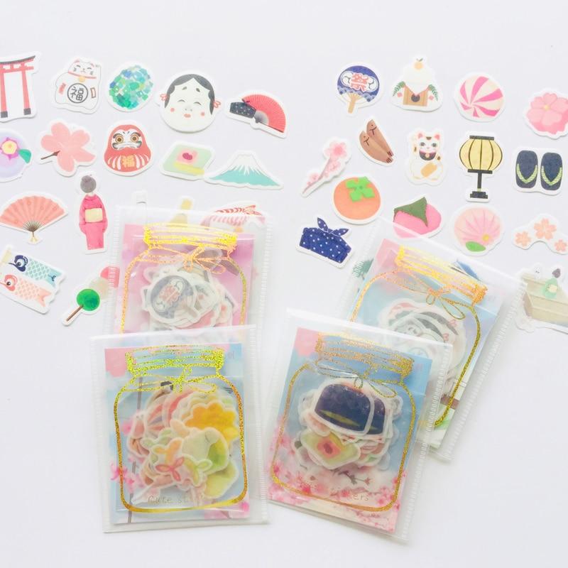 40 Sheets /Bag Japanese Style Sakara Fuji Decorative Washi Stickers Scrapbooking DIY Diary Album Stick Label