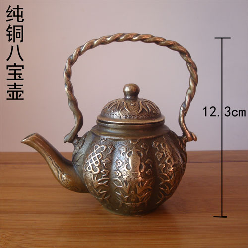 Copper kettle wind Babaohu brass trumpet antique old pot teapot copper ornaments in Statues Sculptures from Home Garden