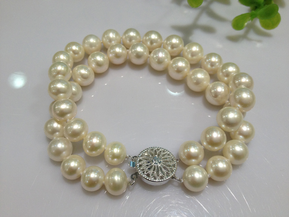 Free Shipping Fashion Jewelry Natural Freshwater pearl Bracelet 925 sterling Silver Clasp 8 9MM Perfeclty Round Double Layer